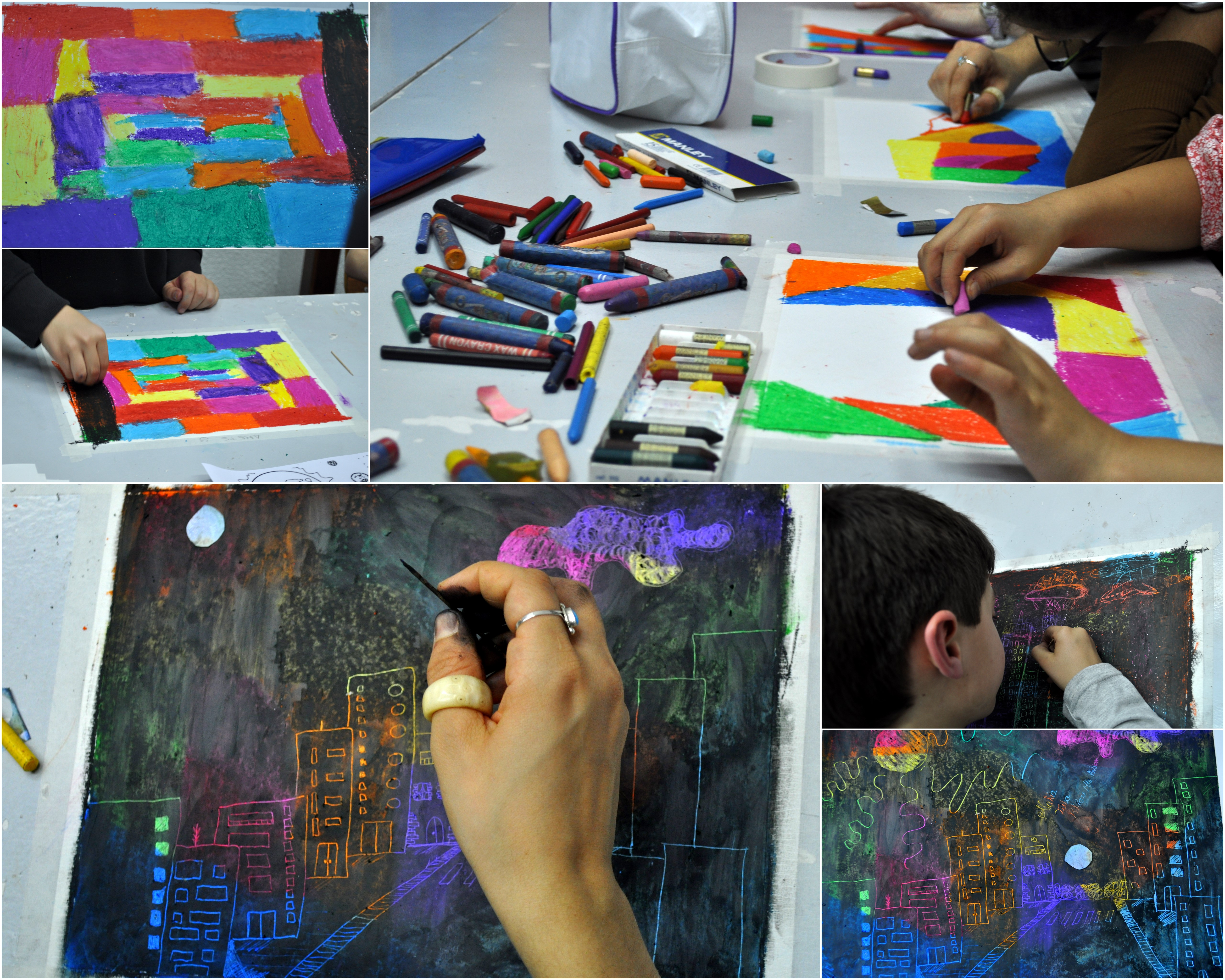 Pintando con ceras cuaderno de retazos for Trabajos en barcelona sin papeles