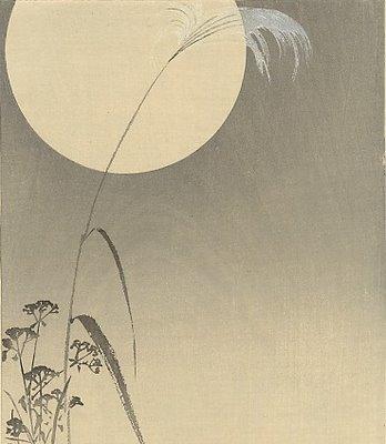 Ohara+Koson+(1877-1945)-grasshopper_umder_full_moon