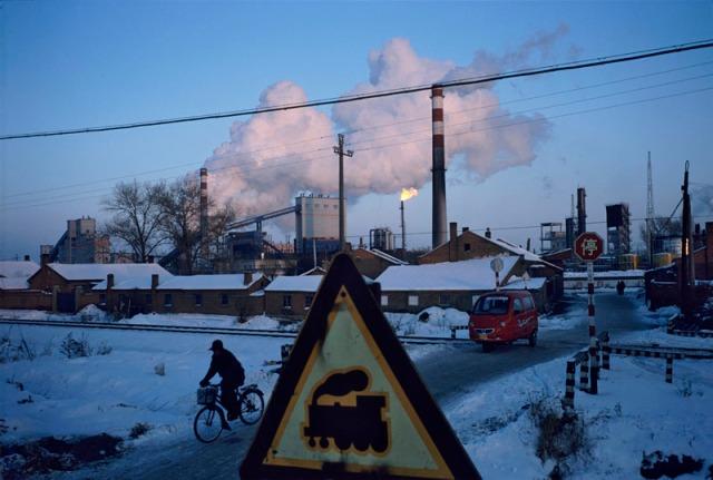 China - Heilongjiang - Qitaihe, Railroad intersection near coal cokery in industrial north.