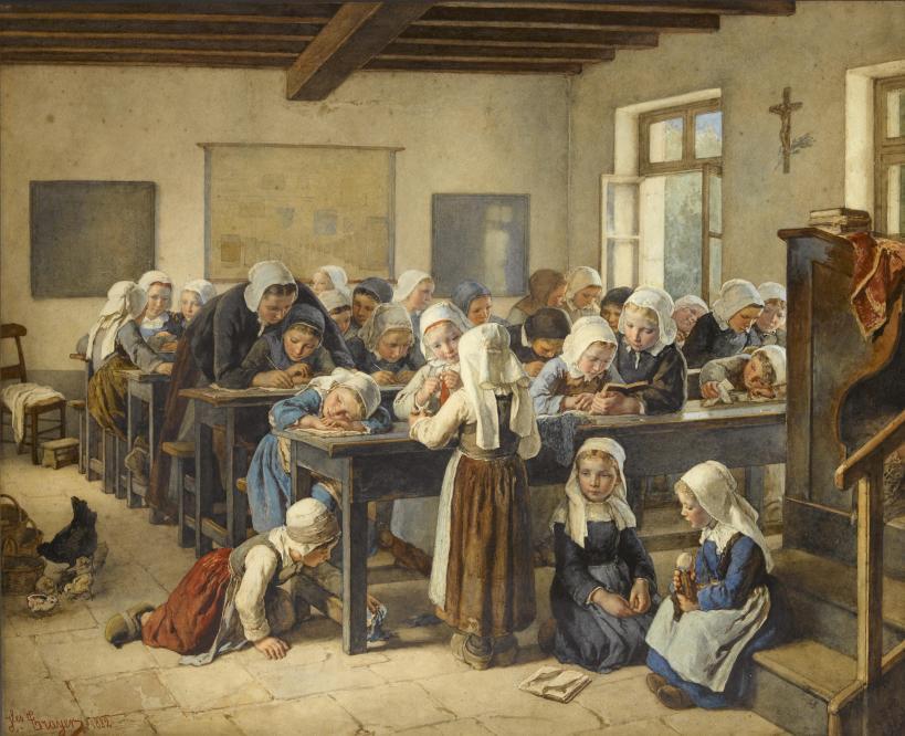 Jean-Baptiste Jules Trayer refleja en su obra Mi escuela ideal.