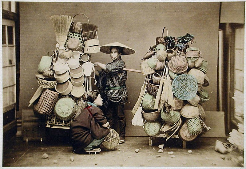 03-Kusakabe, Kimbei, Basket Seller, [1860 - ca. 1900], Henry and Nancy Rosin Collection of Early Photography of Japan