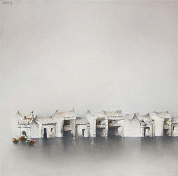 Quiet-town-Oil-on-Canvas-painting-by-Vietnamese-Artist-Le-Tuong