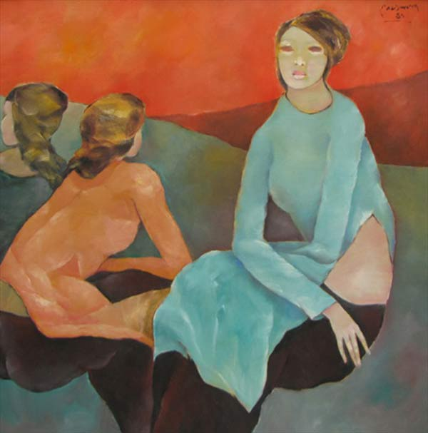 Sisters-confide-to-each-other-2-Oil-on-Canvas-painting-by-Vietnamese-Artist-Pham-Cung