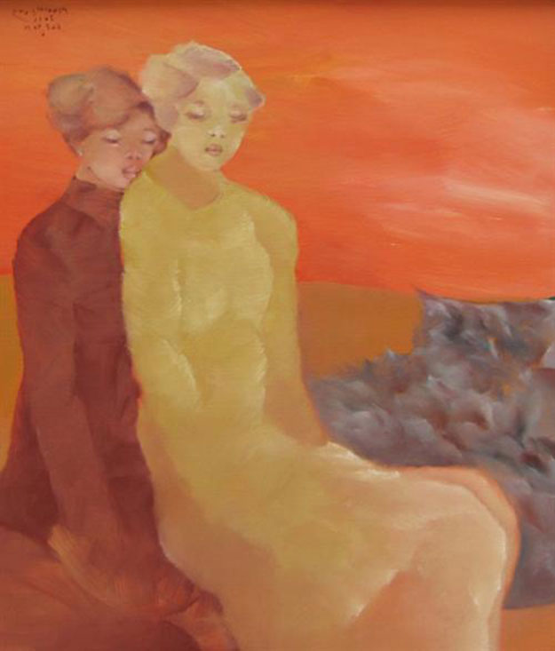 Sisters-confide-to-each-other-3-Oil-on-Canvas-painting-by-Vietnamese-Artist-Pham-Cung