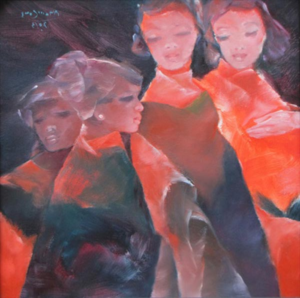 Sisters-confide-to-each-other-4-Oil-on-Canvas-painting-by-Vietnamese-Artist-Pham-Cung
