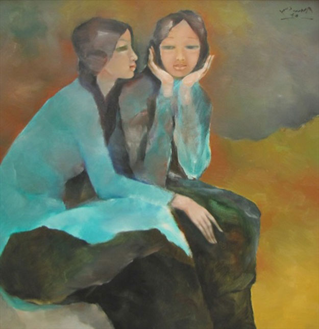 Sisters-confide-to-each-other-Oil-on-Canvas-painting-by-Vietnamese-Artist-Pham-Cung