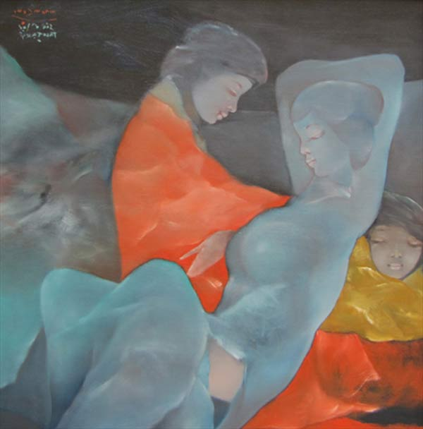 Sisters-dreaming-in-the-garden-Oil-on-Canvas-painting-by-Vietnamese-Artist-Pham-Cung