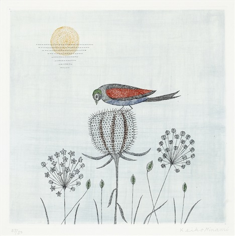keiko-minami-bird-on-the-grass-(sold-with-30b,-c&d;-set-of-4)